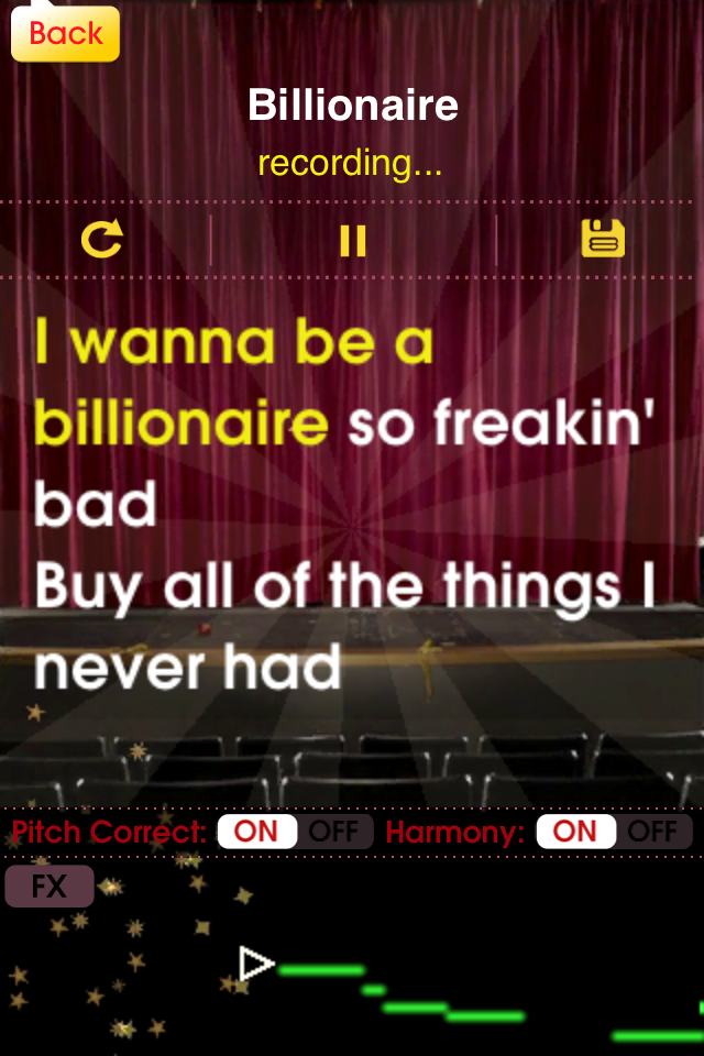 See song lyrics on the Glee iPhone screen