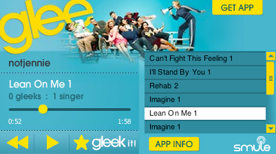 Share your songs from Glee for iPhone and iPad with Smule's Facebook widget