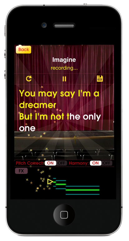 Glee for iPhone and iPad shows you song lyrics