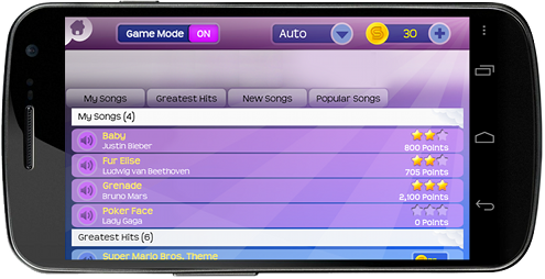 Choose from the largest song catalog of any piano app